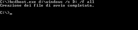 Comando per trasferire il Boot su USB